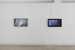 "Exhibition view On the left: Screen Test of a Ghost Hand, 2016, HD video, 1""28' On the right: Screen Test of a Ghost Lake, 2016, HD video, 58'"