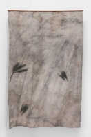 Forest Ghost - Pine, 2018, UV print and burnt wood on hand dyed fabric, copper, 155 x 96 cm