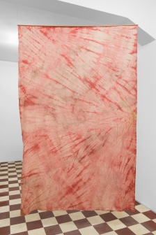 Untitled (Agni), 2018, pigment and burnt wood on hand dyed fabric, copper; 230 x 145 cm
