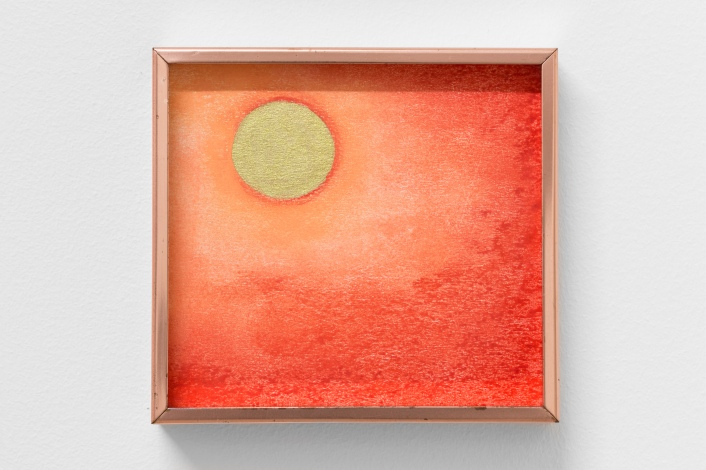 Untiled #3, 2018, soft pastel and ink on paper, copper frame 14,4 x 13,5 cm